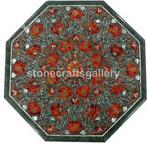 "18"" Green Marble Coffee Table Precious Carnelian Inlay Floral Art Home Deco B162"