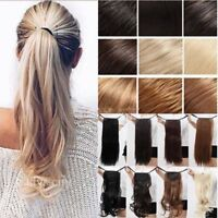 Clip In Ponytail Pony Tail Hair Extension Wrap On Hair Piece Wavy Straight lkk