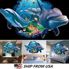 New 3D Ocean Dolphin Removable Vinyl Decal Wall Sticker Art Mural Room Decor