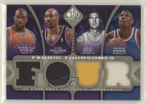 2009 SP Game Used Fabric Foursomes Level 1 /125 Shaquille O'Neal Karl Malone HOF