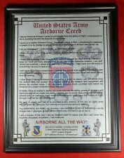 Mc-Nice: Army Airborne Creed All Units Available Framed Personalized