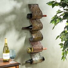 Metal Wine Rack Wall Mount 5 Bottle Holder Kitchen Bar Cellar Cabinet Shelf Art
