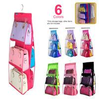 6 Pocket Clear Handbag Purse Organizer Door Closet Hanging Storage Bag Filmy