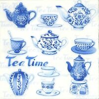 N879# 3x Single Paper Napkins For Decoupage Blue White China Teapot And Tea Cup