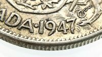 1947 C7 ND Narrow Date Canada 50 Cents Half Dollar Circulated Silver Coin R623