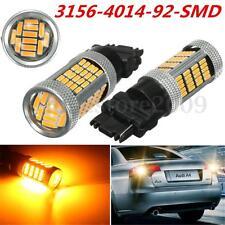2pcs T20 3156 W21W 4014-92-SMD LED Brake Stop Running Turn Light Bulb Lamp Amber