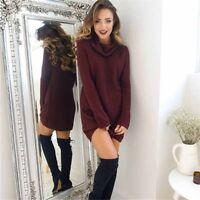 Women Sweater Long Sleeve Loose Knitted Dress Winter Pullover Jumper Turtleneck
