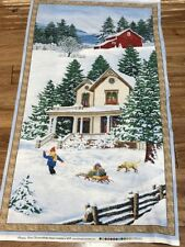 Bringing Home Christmas cotton quilters Fabric Panel 25 x 44 Wilmington