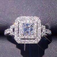 New 2.36ct Asscher Cut White Diamond Engagement Wedding Ring 925 Sterling Silver