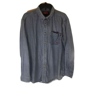 Ariat FR Work Shirt Men Large Long Sleeve Button Front Flame Resistant Blue