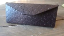 GUCCI Sunglasses Eyeglasses Brown Leather Folding Hard Shell Case