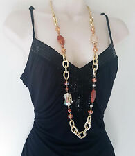 """Stunning 38"""" long Gold tone & brown tone chunky link chain & bead necklace"""