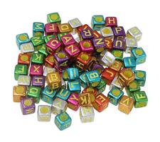 300 Buchstabenperlen Kunststoffbuchstabe 6mm Würfel Bunt Perlenmischun BEST R221