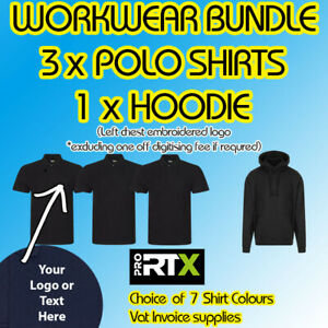 Workwear Bundle 3 x Polo Shirts + 1 x hoodie Chest Embroidered Logo uniform
