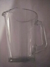 "HEAVY VINTAGE JEANNETTE 8.50"" CLEAR GLASS PITCHER ICE LIP 11B SQUARE HANDLE 64OZ"