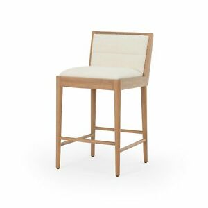"""36"""" H Modern Counter Stool Solid Brown Oak Frame White Linen Fabric Low Back"""