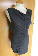 Ladies JIGSAW Grey Draped Top Size M 10 12 Ruched Stretch