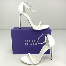 Stuart Weitzman Nudist White Leather Stiletto Heel Sandal Ankle Strap 11.5 M