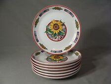 7 International China Co. Stoneware Salad Plates In The Sunflower #90 Pattern