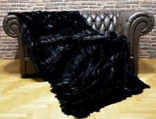 Luxury Real Black Fox Throw Blanket