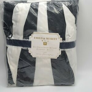 "Pottery Barn PB Teen Emily & Meritt Circus Stripe bed skirt 18"" drop FULL"