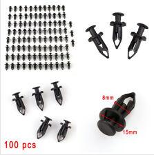 100 Pcs 8mm Stem Diameter Black Hi-Density Nylon ATV Push Pin Body Panel Rivet