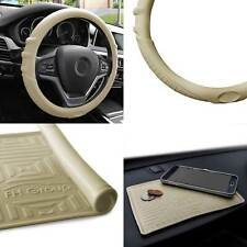 Silicone Steering wheel cover Grip Marks w/ Beige Dash Mat Beige For Auto