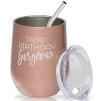 Happy Birthday Wine Glass - Insulated Stainless Steel Stemless Tumbler for Her