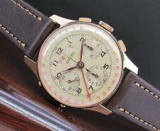 Vintage UNVER chronograph, Valjoux 72, triple calendar, 18 kts gold, PERFECT !!