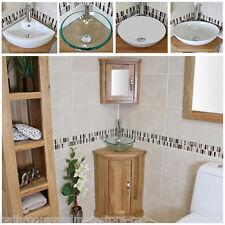 Solid Oak Bathroom Vanity Cabinet | Cloakroom Corner Cabinets Basin & Mirror Bowl B