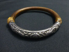 Beautiful Antique Chinese Silver Repousse Bamboo Rattan Bracelet