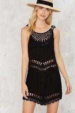 NASTY GAL Wyldr Knot About It Crochet Mini Dress Black Size XS NWT