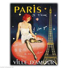 METAL SIGN WALL PLAQUE PARIS JE T'AIME LOVE VILLE D'AMOUR poster art picture