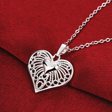 925 Silver Plated Heart Crystal Rhinestone Pendant Chain Necklace Women Jewelry
