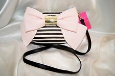BETSEY JOHNSON PURSE HANDBAG CROSSBODY BOW BOW BOW BONE CORAL NWT