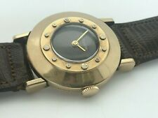 Rare 1960's Jaeger LeCoultre Manual Wind Black Dial 10K Gold Filled RUNS