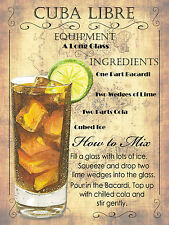 Cocktail cuba libre, Retro Metallo Placca, pub bar cucina shabby chic regalo