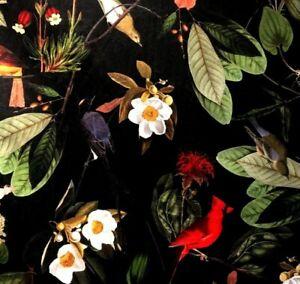 Black Italian Velvet Printed Passiflora Green Red Birds Botanical Sold by Meter