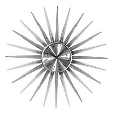 Premier Housewares Silver Coloured Face Sunburst Design Wall Clock 61 Cm