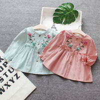 Toddler Kid Baby Clothes Girl Long Sleeve Floral Ruffle Party Princess Dress Top
