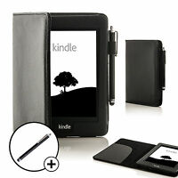 Leather Black Smart Case Cover for Amazon Kindle Paperwhite 2015 + Stylus