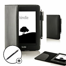 Piel Negro Funda Smart para Amazon Kindle Paperwhite 2015 +Lápiz Óptico