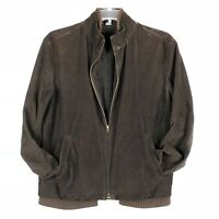 Vintage J CREW Mens M Brown Corduroy Coat Full Zip Bomber Jacket Cotton Lined