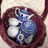 Vintage, Japan, Blue Willow, 18pc Child's Tea Set - Pink Wicker Picnic Basket