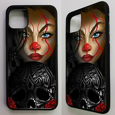 Clown circus pin up girl skull rose tattoo graphic art case cover for iphone 11