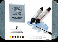 Winsor And Newton Water Colour Marker 6 piece tin case NEW