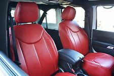 Jeep Wrangler JK Front Red Syn Leather Seat Covers Overlay Red Double Stitching