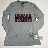 ADIDAS Indiana Hoosiers Diving AEROKNIT L/S Shirt Grey WOMENS Medium V NECK