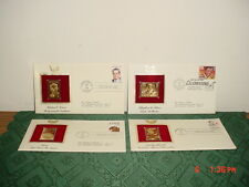 """4-PC 22KT GOLD REPLICA """"FIRST DAY OF ISSUE"""" STAMPS/ENVELOPES/DATED/CLEARANCE!"""