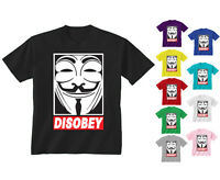 Youth Kids Childrens Disobey Anonymous Mask Face T-shirt Age 5-13 Years